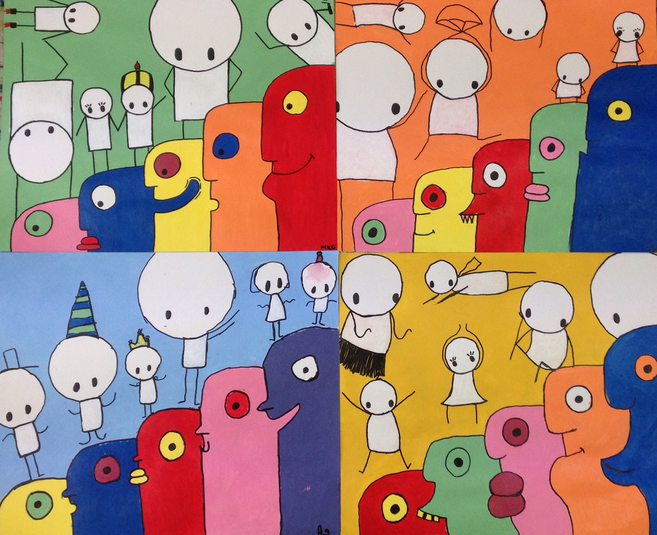 #stik graffiti with #thierrynoir faces. Ages 6 - 12 Acrylic