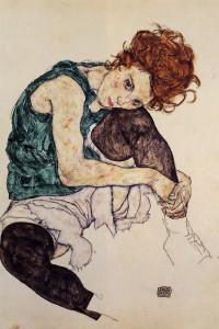 Day 21: Seated Woman with Bent Knee - Egon Schieler 1917